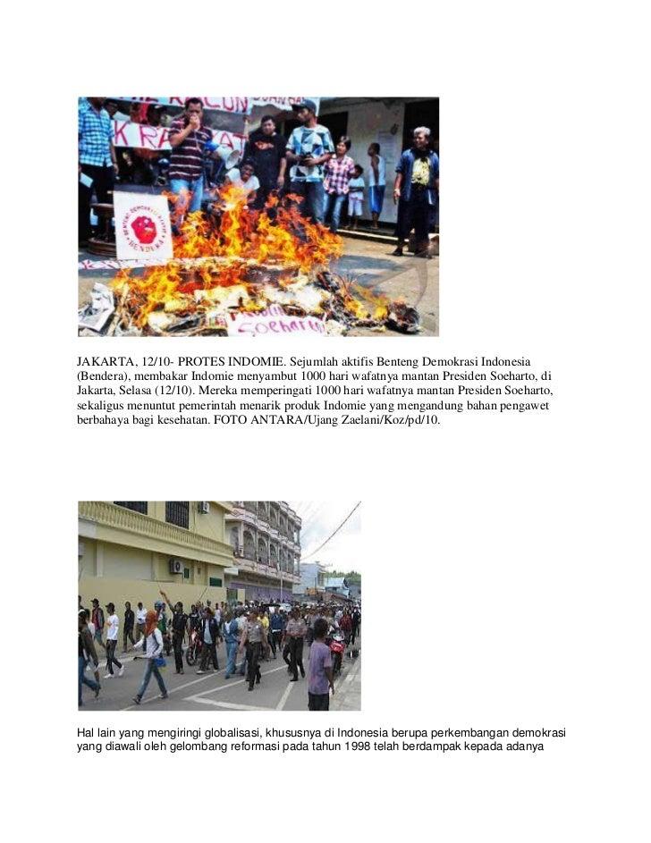 JAKARTA, 12/10- PROTES INDOMIE. Sejumlah aktifis Benteng Demokrasi Indonesia(Bendera), membakar Indomie menyambut 1000 har...