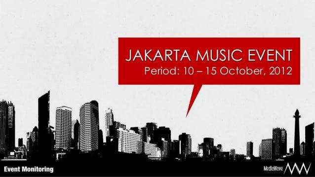 JAKARTA MUSIC EVENT  Period: 10 – 15 October, 2012