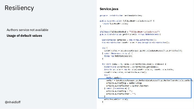 Resiliency Authors service not available Usage of default values Service.java @nheidloff