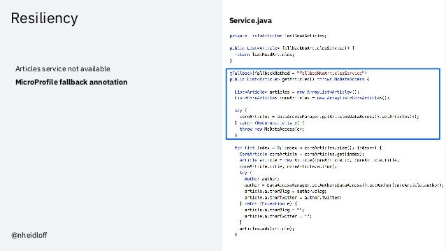 Resiliency Articles service not available MicroProfile fallback annotation Service.java @nheidloff