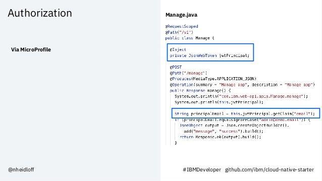 Authorization Via MicroProfile Manage.java @nheidloff #IBMDeveloper github.com/ibm/cloud-native-starter
