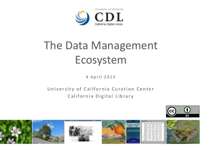 The Data Management     Ecosystem              4 April 2013University of California Curation Center       California Digit...