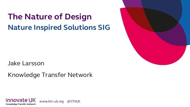The Nature of Design Nature Inspired Solutions SIG Jake Larsson Knowledge Transfer Network