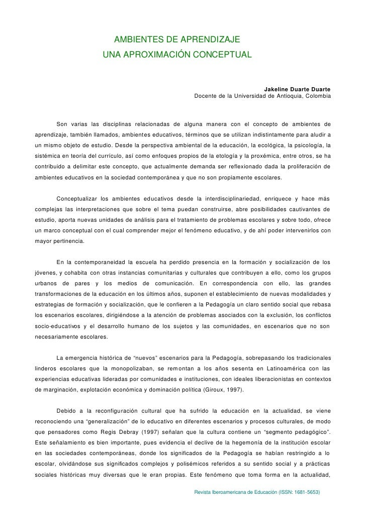 AMBIENTES DE APRENDIZAJE                          UNA APROXIMACIÓN CONCEPTUAL                                             ...