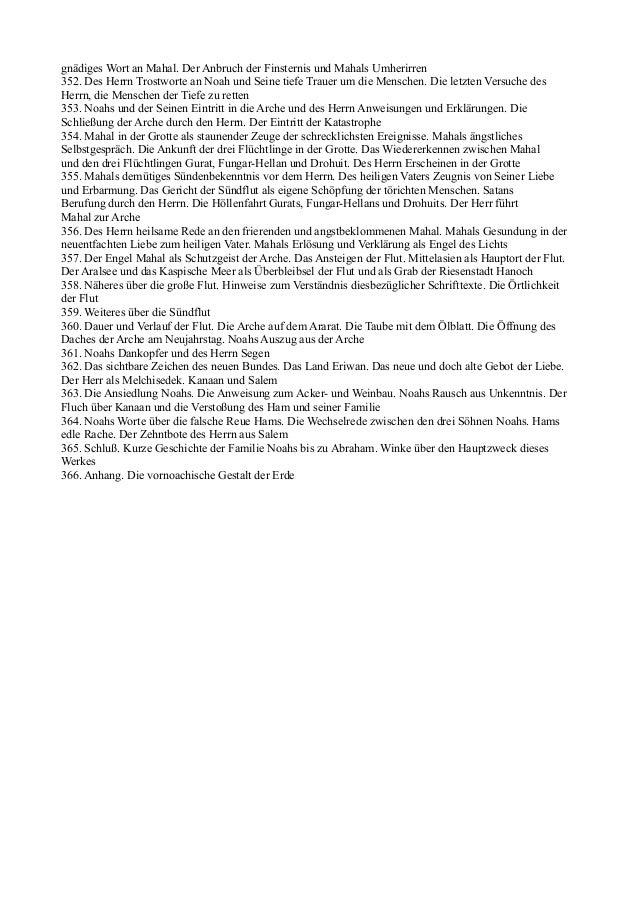 gnädiges Wort an Mahal. Der Anbruch der Finsternis und Mahals Umherirren352. Des Herrn Trostworte an Noah und Seine tiefe ...