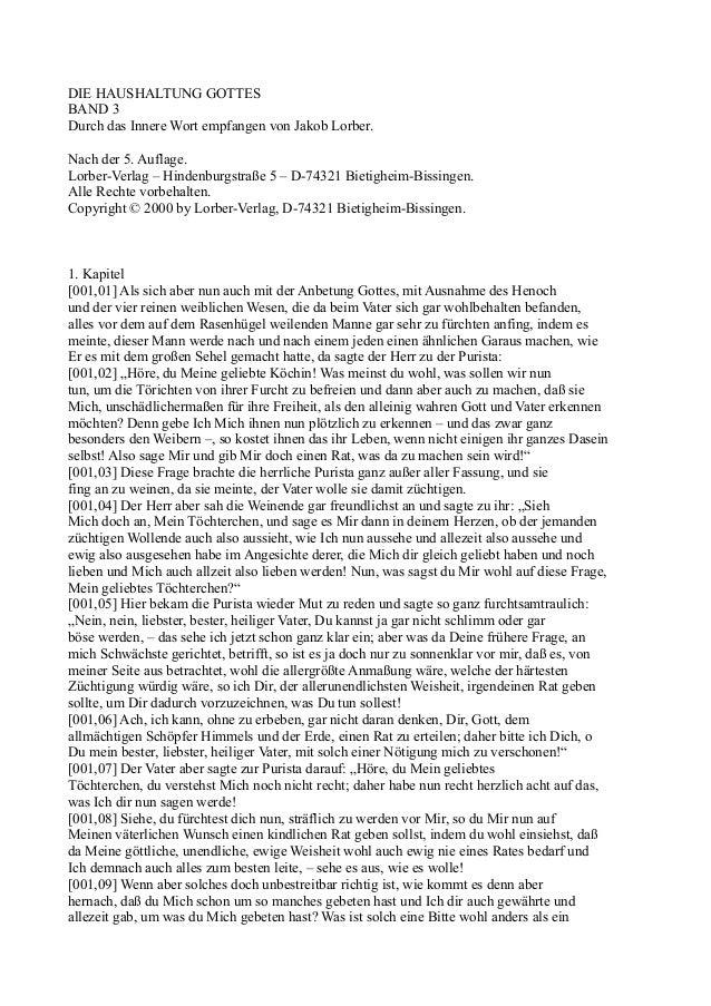 DIE HAUSHALTUNG GOTTESBAND 3Durch das Innere Wort empfangen von Jakob Lorber.Nach der 5. Auflage.Lorber-Verlag – Hindenbur...