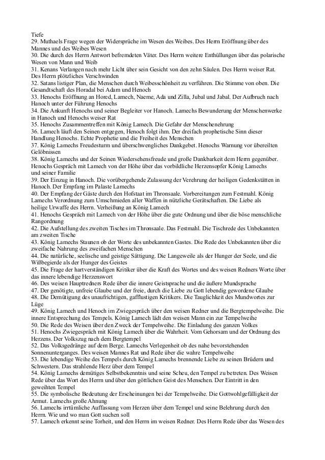 Tiefe29. Muthaels Frage wegen der Widersprüche im Wesen des Weibes. Des Herrn Eröffnung über desMannes und des Weibes Wese...