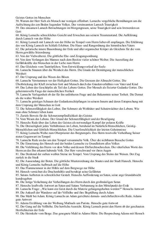 Geistes Gottes im Menschen58. Warum der Herr Sich als Mensch nur wenigen offenbart. Lamechs vergebliche Bemühungen um dieA...