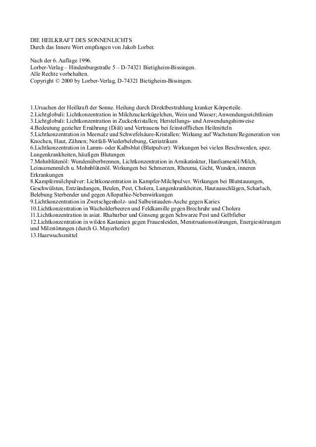 DIE HEILKRAFT DES SONNENLICHTSDurch das Innere Wort empfangen von Jakob Lorber.Nach der 6. Auflage 1996.Lorber-Verlag – Hi...