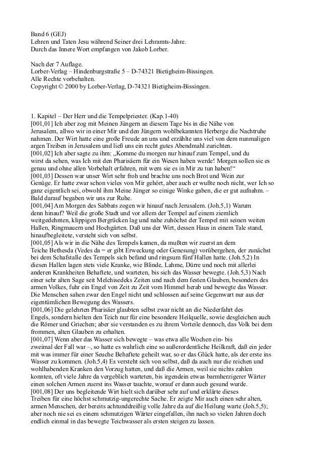 Band 6 (GEJ)Lehren und Taten Jesu während Seiner drei Lehramts-Jahre.Durch das Innere Wort empfangen von Jakob Lorber.Nach...