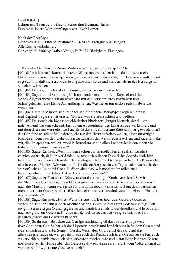Band 8 (GEJ)Lehren und Taten Jesu während Seiner drei Lehramts-Jahre.Durch das Innere Wort empfangen von Jakob Lorber.Nach...