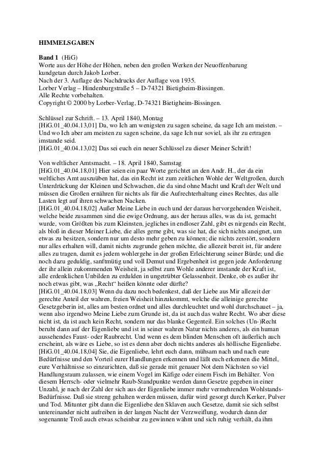 HIMMELSGABENBand 1 (HiG)Worte aus der Höhe der Höhen, neben den großen Werken der Neuoffenbarungkundgetan durch Jakob Lorb...