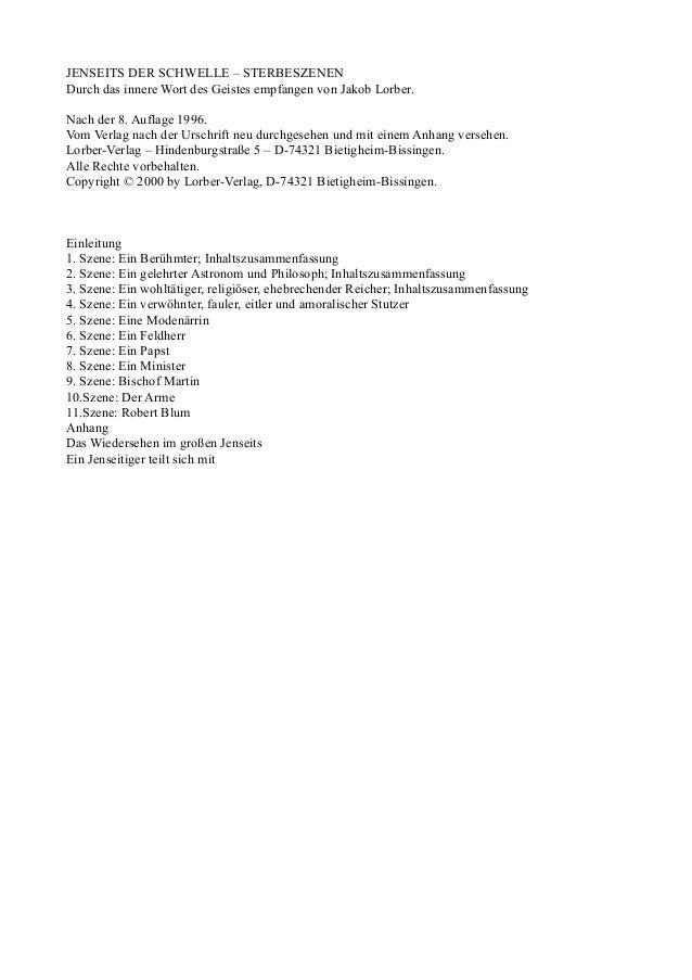 JENSEITS DER SCHWELLE – STERBESZENENDurch das innere Wort des Geistes empfangen von Jakob Lorber.Nach der 8. Auflage 1996....