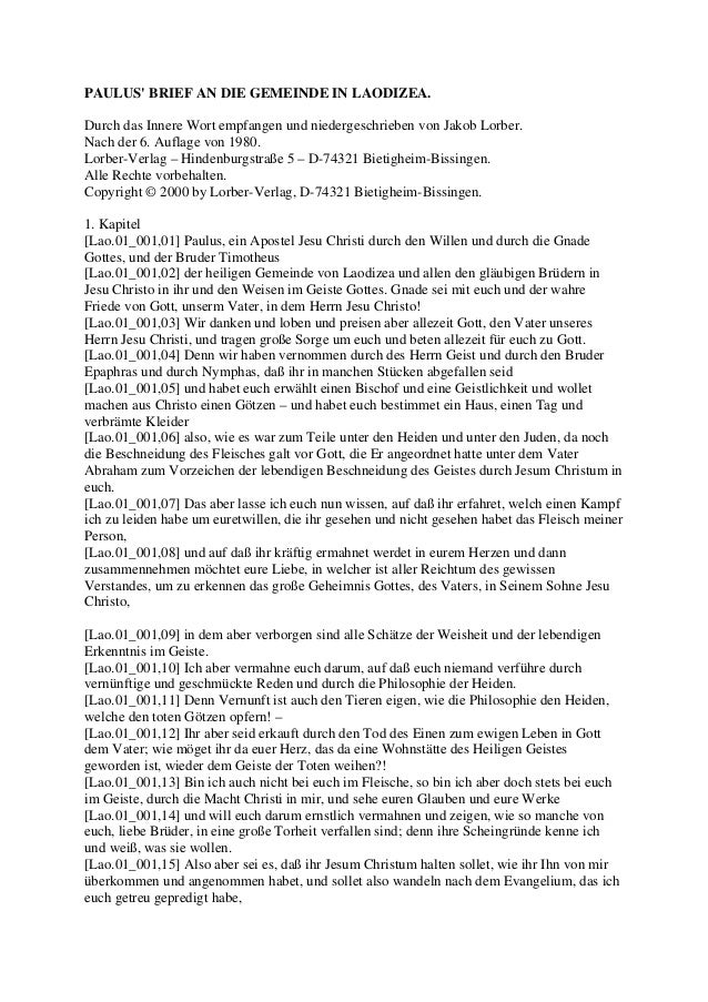 PAULUS BRIEF AN DIE GEMEINDE IN LAODIZEA.Durch das Innere Wort empfangen und niedergeschrieben von Jakob Lorber.Nach der 6...