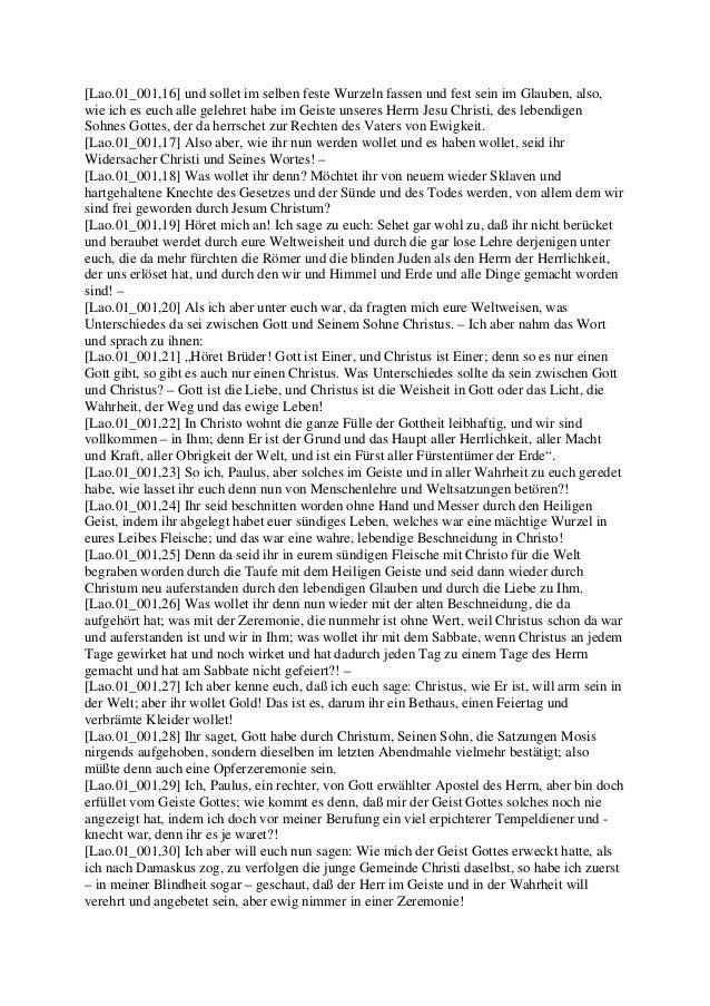 PAULUS Brief an die Gemeinde in Laodizea (Jakob Lorber) Slide 2
