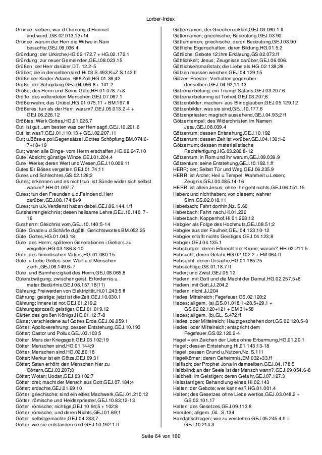 Stichwortverzeichnis (Jakob Lorber)