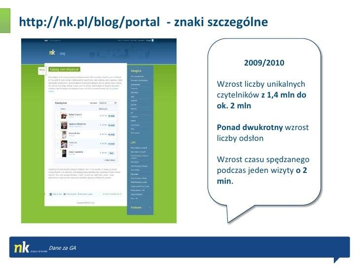 http://nk.pl/blog/portal  - znaki szczególne<br />2009/2010<br />Wzrost liczby unikalnych czytelników z1,4 mln do ok. 2 ml...