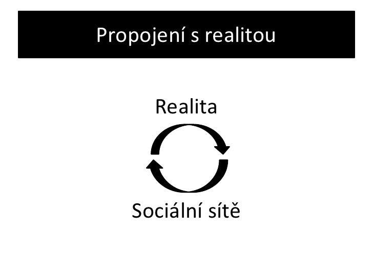Propojení s realitou<br />Realita<br />Sociální sítě<br />