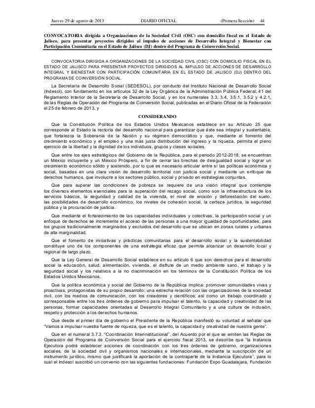 Jueves 29 de agosto de 2013  DIARIO OFICIAL  (Primera Sección)  44  CONVOCATORIA dirigida a Organizaciones de la Sociedad ...
