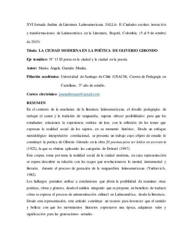XVI Jornada Andina de Literatura Latinoamericana JALLA- E: Ciudades escritas: invención y transformaciones de Latinoaméric...