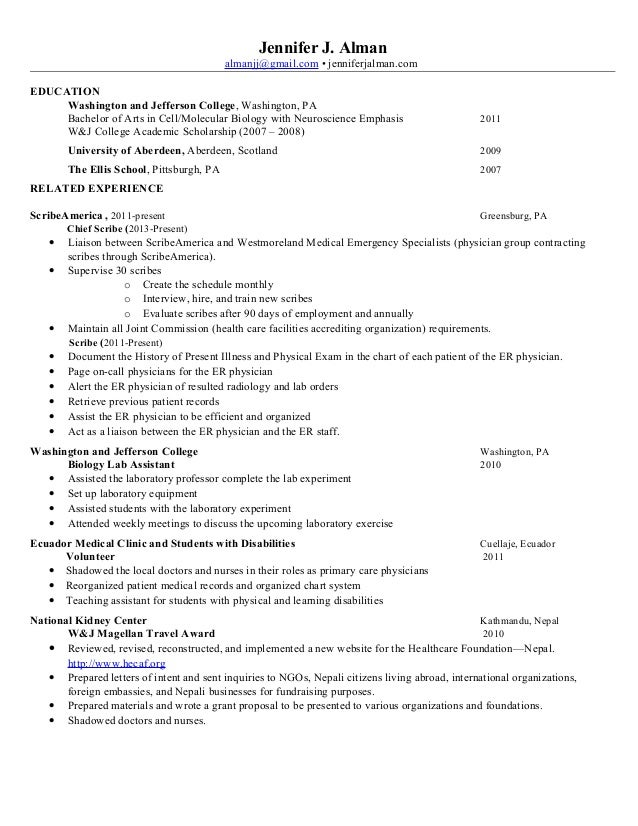 emergency room scribe resume example fredericksburg emergency