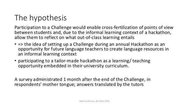The hypothesis Participation to a Challenge would enable cross-fertilization of points of view between students and, due t...