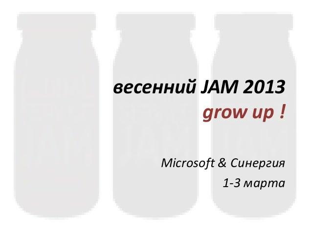 весенний JAM 2013         grow up !    Microsoft & Синергия              1-3 марта