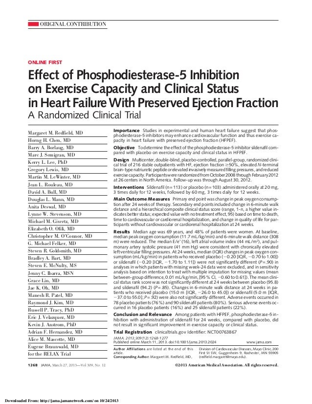 ORIGINAL CONTRIBUTION  ONLINE FIRST  Effect of Phosphodiesterase-5 Inhibition on Exercise Capacity and Clinical Status in ...