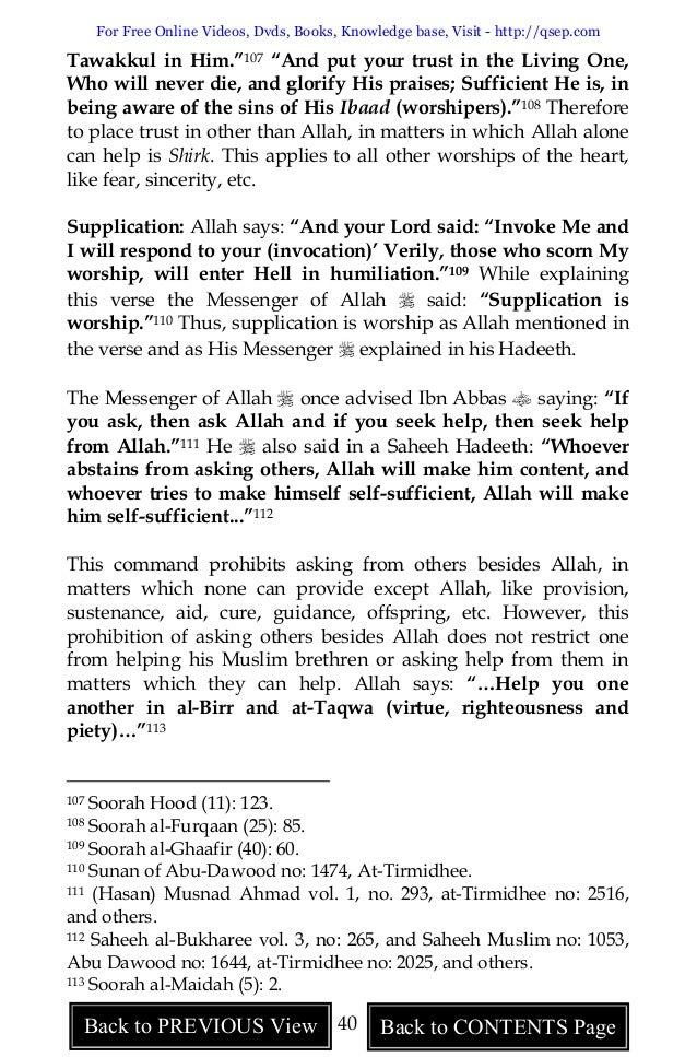 Critical Study Of Shirk- Muhammad Ibn Abd Al-wahhab's Kash ...