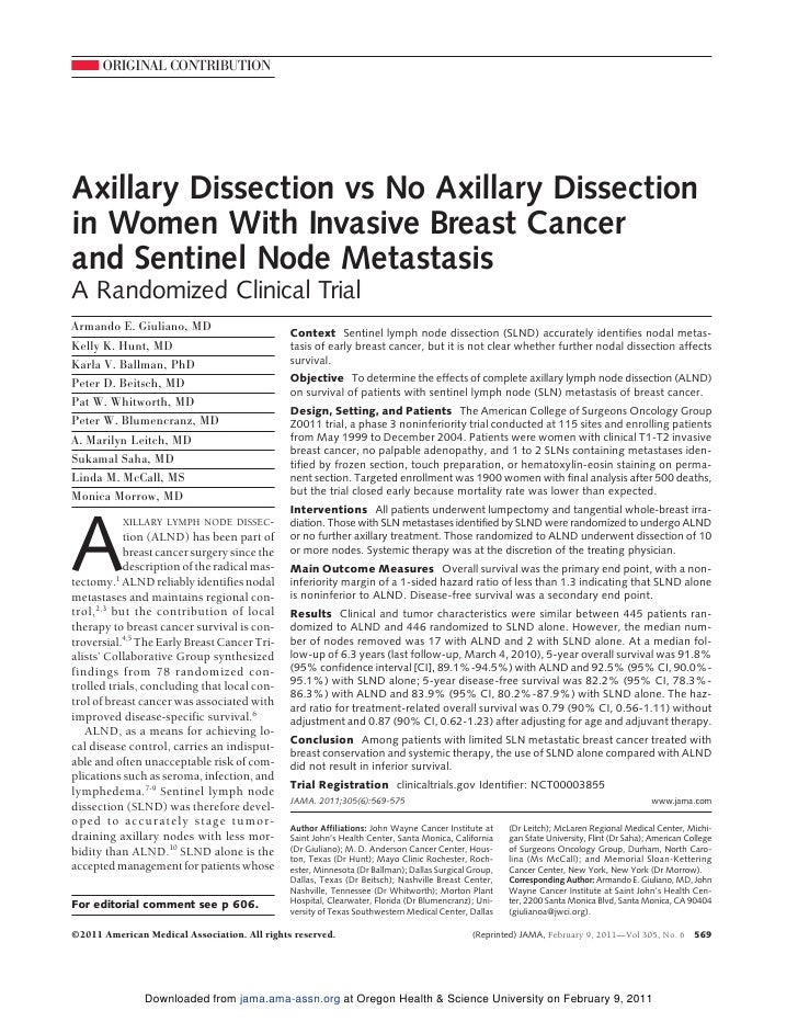 ORIGINAL CONTRIBUTIONAxillary Dissection vs No Axillary Dissectionin Women With Invasive Breast Cancerand Sentinel Node Me...