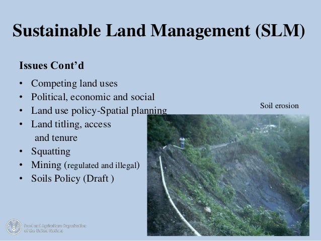 Current status of legal and institutional framework for for Soil management
