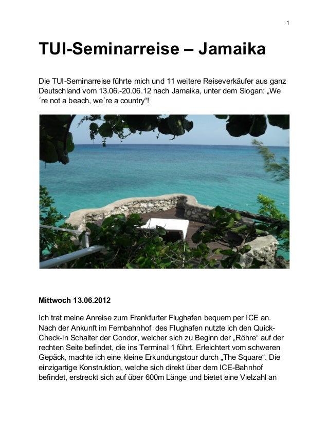1 TUI-Seminarreise – Jamaika Die TUI-Seminarreise führte mich und 11 weitere Reiseverkäufer aus ganz Deutschland vom 13.06...