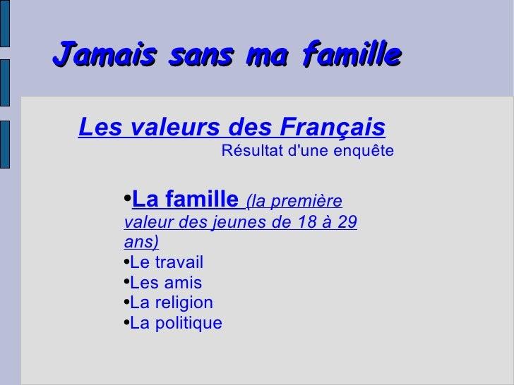 Jamais sans ma famille   Les valeurs des Français                Résultat d'une enquête      ●La famille (la première     ...