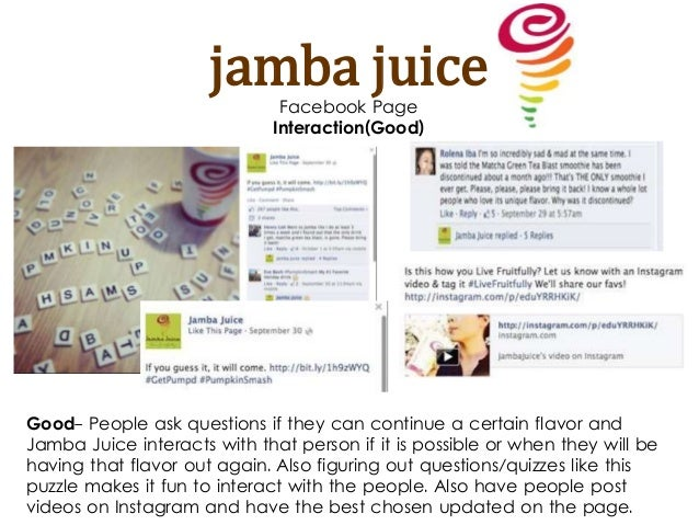 jamba juice competitive analysis Jamba juice – porters 5 forces: suppliers if a new market entrant tries to move into a market that is in direct competition with jamba juice.