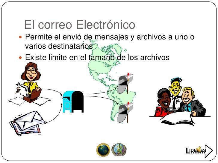 El correo Electrónico  Permite el envió de mensajes y archivos a uno o   varios destinatarios  Existe limite en el tamañ...