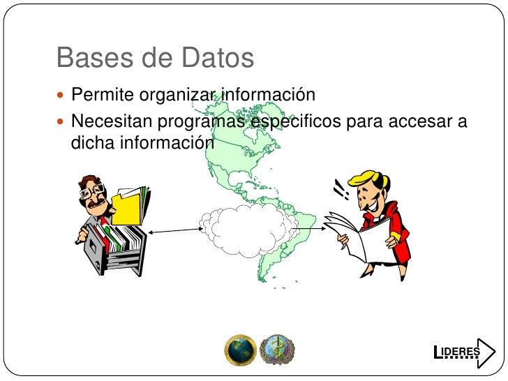 Bases de Datos  Permite organizar información  Necesitan programas especificos para accesar a  dicha información        ...