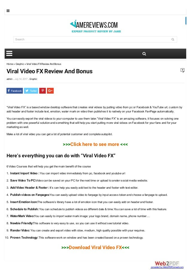 """Home » Graphic » Viral Video FXReview And Bonus Viral Video FX Review And Bonus admin  July14, 2017  Graphic 0 """"Viral Vi..."""