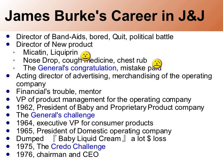 james burke a career in american business Organization and leadership case study: james burke: a career in american business – a free powerpoint ppt presentation (displayed as a flash slide show) on powershowcom - id: 9f1ff-nme1z.