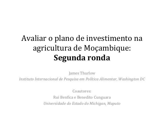 Avaliar o plano de investimento na agricultura de Moçambique: Segunda ronda James Thurlow Instituto Internacional de Pesqu...