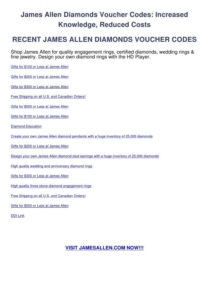 James Allen Diamonds Voucher Codes: Increased                Knowledge, Reduced CostsRECENT JAMES ALLEN DIAMONDS VOUCHER C...