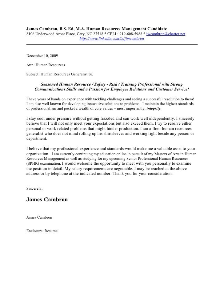 James Cambron Cover Letter 2010