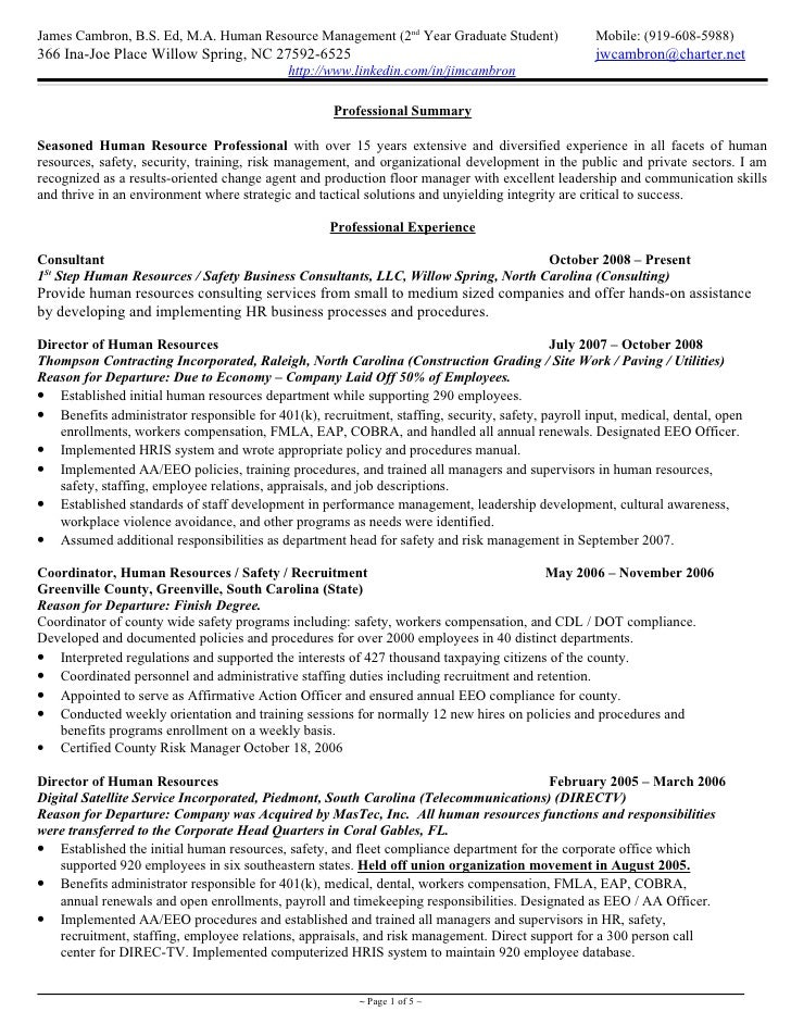 Cambron Resume Hr Generalist 15 Plus Yrs Exp 2010