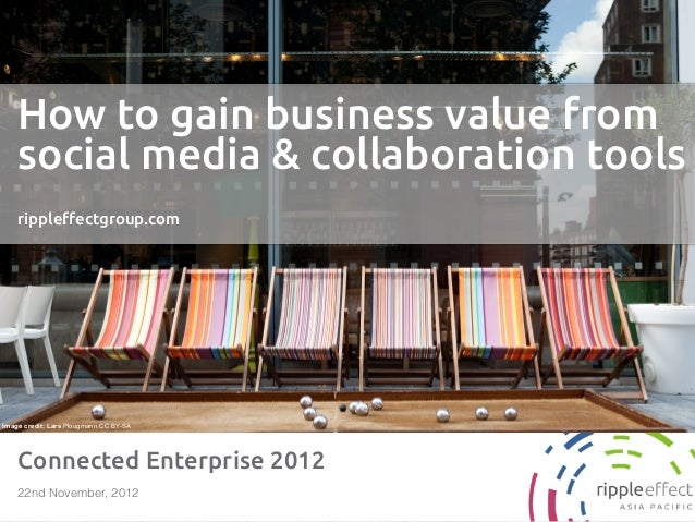 How to gain business value from    social media & collaboration tools    ripple!ectgroup.comImage credit: Lars Plougmann C...