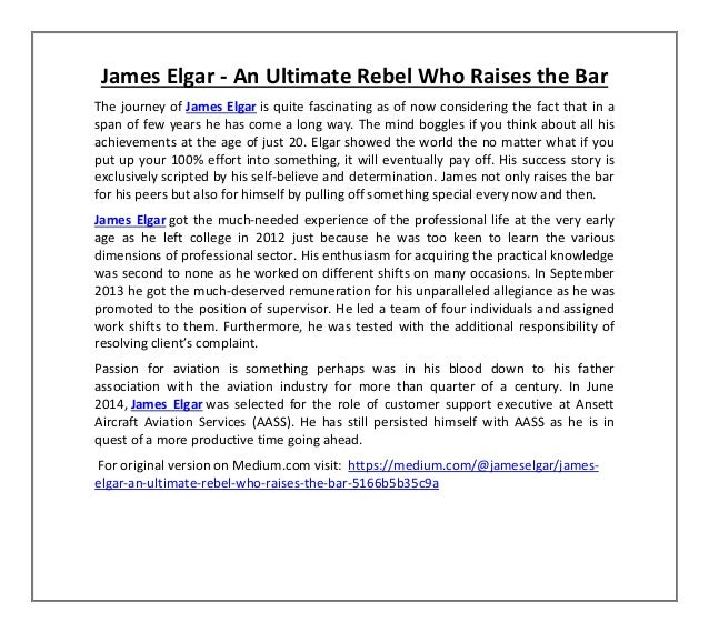 James Elgar - An Ultimate Rebel Who Raises the Bar The journey of James Elgar is quite fascinating as of now considering t...