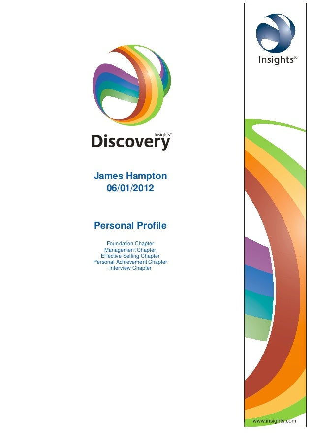 James Hampton 06/01/2012 Personal Profile Foundation Chapter Management Chapter Effective Selling Chapter Personal Achieve...