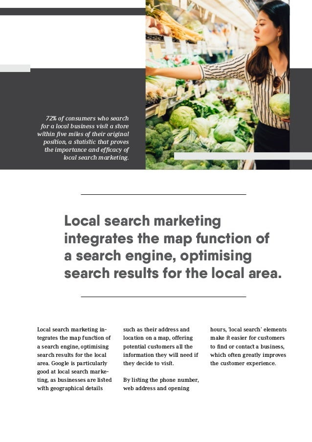 Local search marketing integrates the map function of a search engine, optimising search results for the local area. Local...