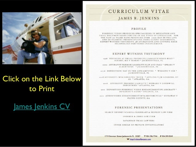 Click on the Link Below        to Print   James Jenkins CV