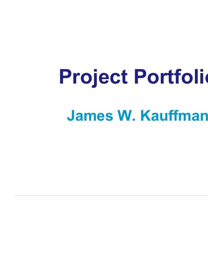Project PortfolioJames W. Kauffman