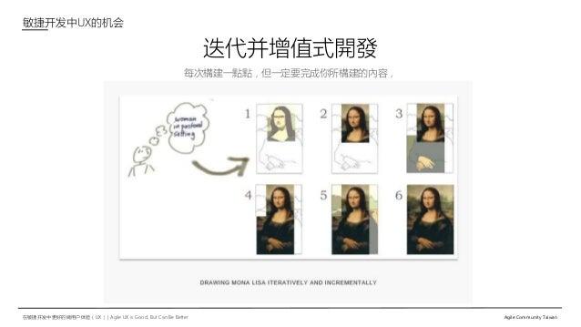 在敏捷开发中更好的做用户体验(UX)   Agile UX is Good, But Can Be Better Agile Community Taiwan 每次構建一點點,但一定要完成你所構建的內容, 迭代并增值式開發 敏捷开发中UX的机会