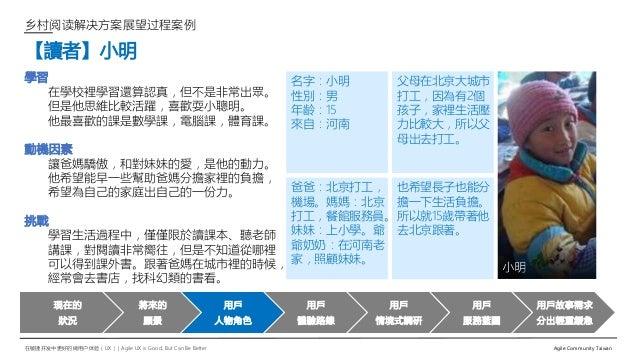 在敏捷开发中更好的做用户体验(UX)   Agile UX is Good, But Can Be Better Agile Community Taiwan 乡村阅读解决方案展望过程案例 【讀者】小明 學習 在學校裡學習還算認真,但不是非常出...